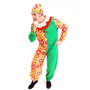 PGMC1831 Custom Colorful Grid Fancy Dress Carnival Cosplay Party Adult Men Jumpsuit Circus Clown Costume