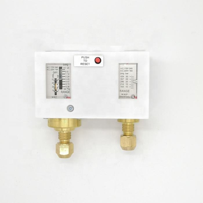 Adjustable dual differential pressure controller for refrigeration equipment