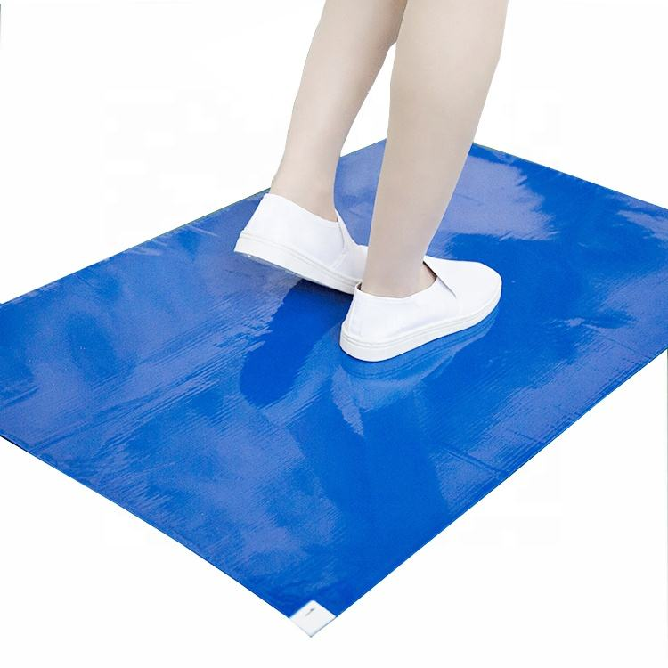 60cmX90cm China Supplier Blue PE Disposable Cleaning Dust Sticky Door Mat