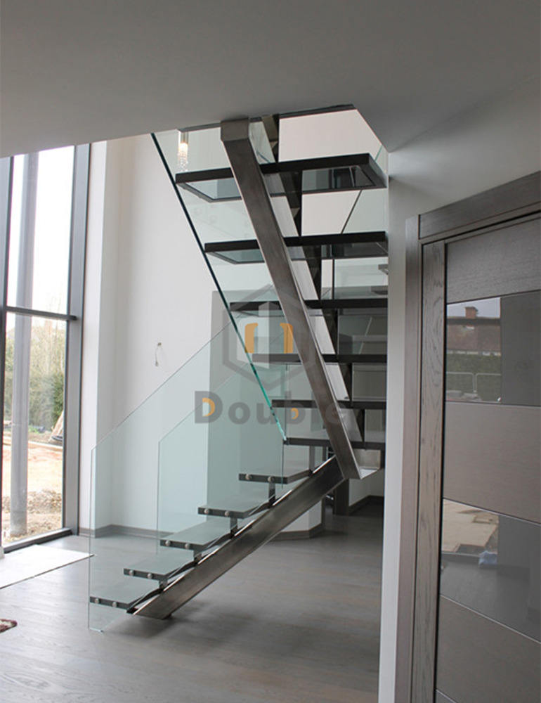 Modern Stair Design Glass Balustrade Steel Tread Staircase