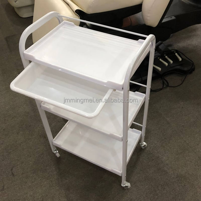 hot sale cheap white plastic salon furniture hairdressing cart beauty salon trolley with wheels