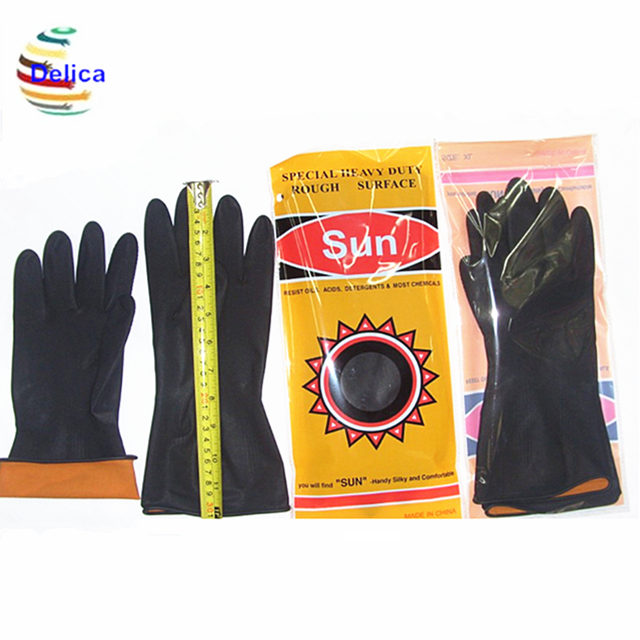 Industrial Work Latex Glove Dipped Lined Industrial Heavy Duty Rubber Glove Safety