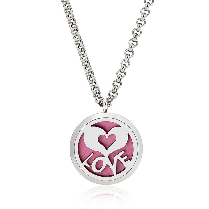 Steel [ Love Necklace ] Aromatherapy Necklace New Arrival Love Heart 316L Stainless Steel Pendant Aromatherapy Diffuser Locket Necklace For Girl