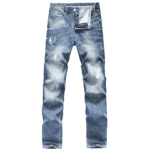 Men denim stretch jean with ripped slim fit pant design man blue jean