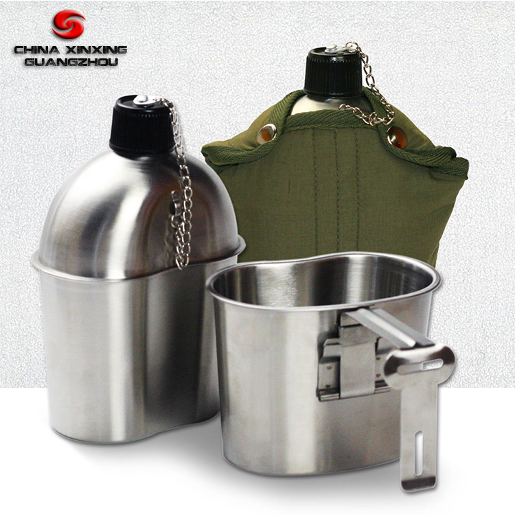 Cotton Cover Belt Military Stainless Steel Canteen & Cup Mess Kit