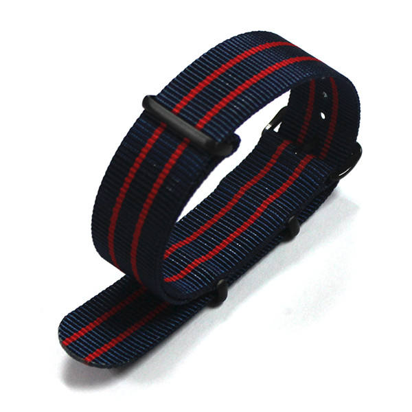 Nylon [ Woven Watch Band ] Nato Band 1 Piece Stripe Black Red Black Red Black Nato Woven Watch Band