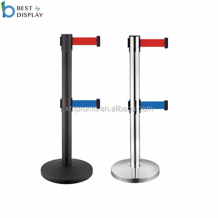 Dual Line Retractable Belt Queue Barrier Stand / Retractable Belt Stanchion