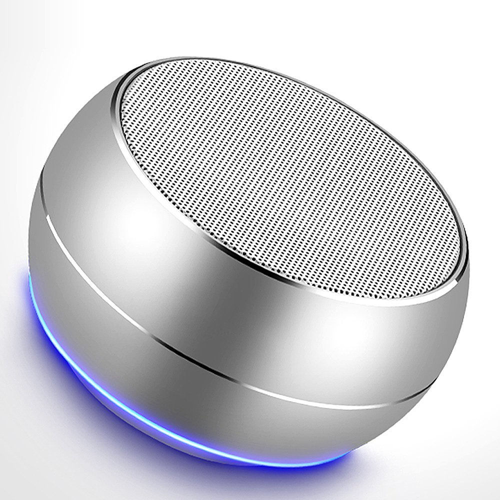 customized oem logo portable round shape mini wireless bluetooth led light speaker