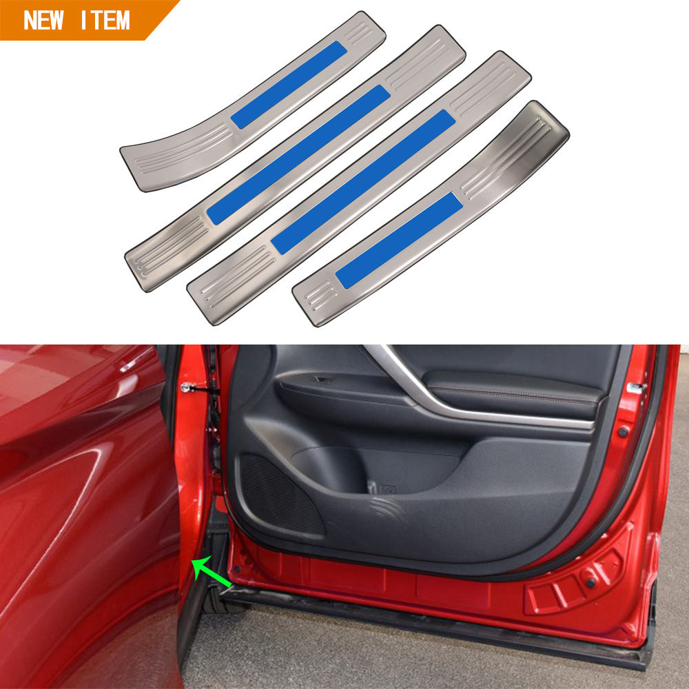 Factory Wholesale Latest Car Accessories Stainless Steel Outer Door Scuff Plate Interior Trim For Mitsubishi Eclipse Cross 2018