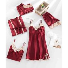 Ladies 5 pcs Sleepwear Set Sexy Silk Night Plus Size Sleeping Wear Shorts Set Nighty for Woman