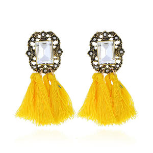 Vintage Faux Gem Decorative Fringed Earrings