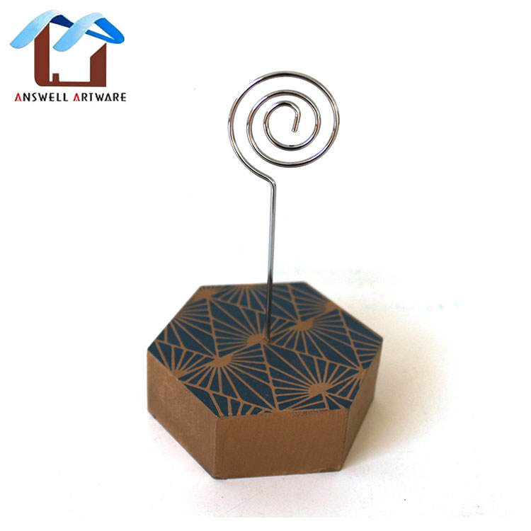 Small Home Office Decoration Wooden Card Holder Clip