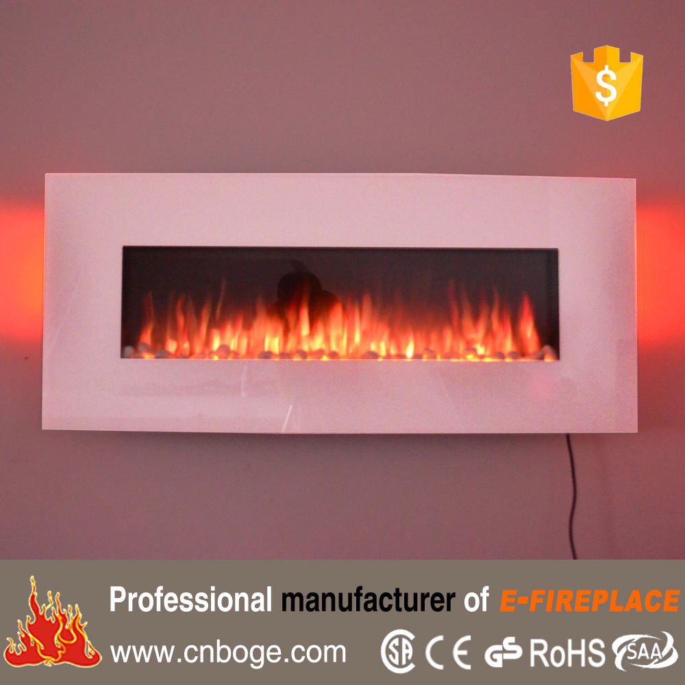 "50"" White Wall Mounted 10 Color Flame Electric Fireplace with 7 Color Ambient Backlits"