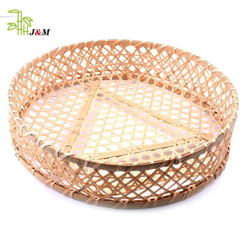 Wholesale Natural Food-safe Fruit Storage Bamboo Basket, Handmade Weaving Bamboo Basket