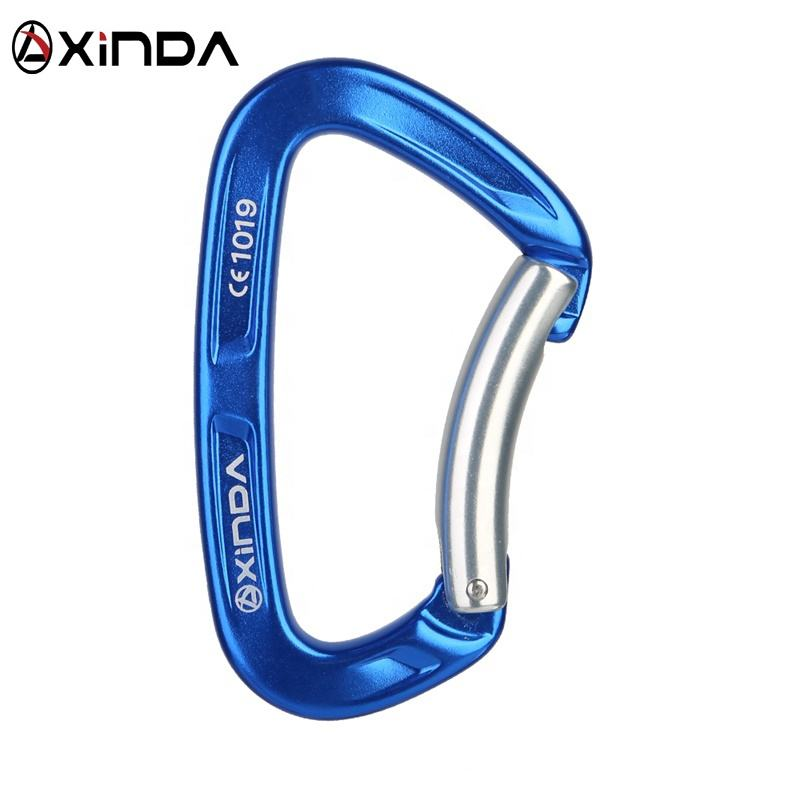 XINDA manufacturer direct supply 25kN CE UIAA bent gate 7075 aluminum carabiner for climbing