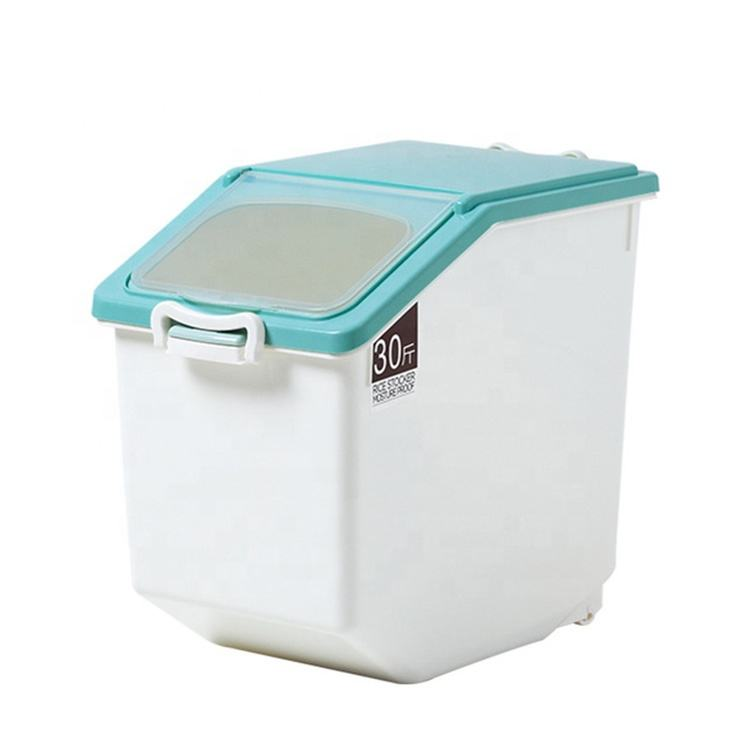 15KG Moisture Proof Plastic Bulk Storage Bins Food Storage Container with Wheels