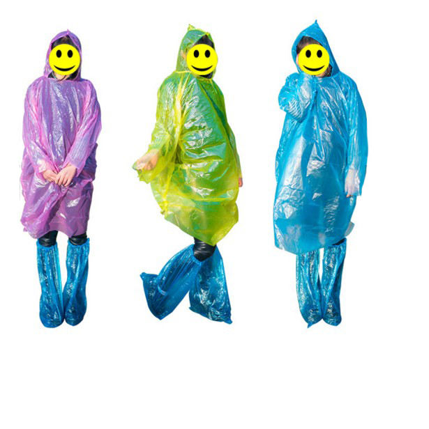 Raincoats Type and PE Poncho Material Rain Coat with Pants and Shoes for Ladies and Mens