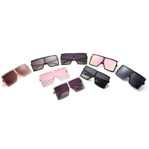 2020 Fashion Big Frame UV 400 Plastic Lady Multi Colors Flat Top Big Square Oversized Sunglasses