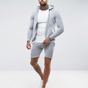 men sports apparel zip up hoodie and short sweatpants school tracksuits