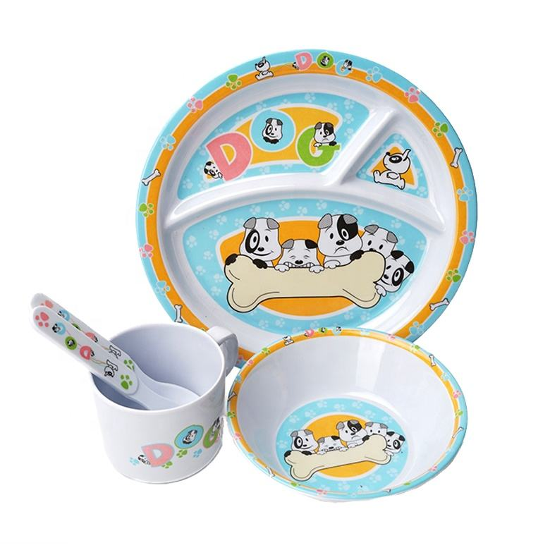Cheap price custom logo new design baby eating OEM melamine kids meal set with table ware