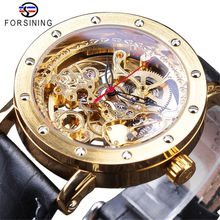 Forsining 137 Fashion Luxury Golden Watches Black Genuine Leather Band Openwork Clock Men's Automatic Watches