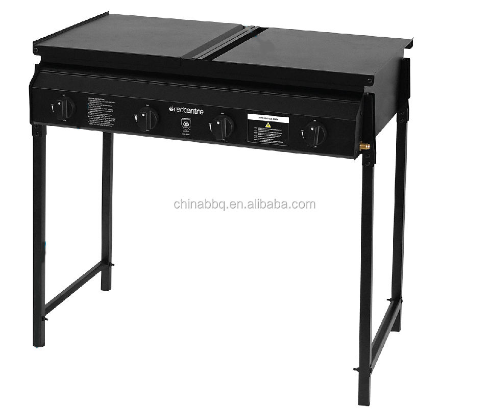 Ocean 4B Solid Plate Folding Leg Gas BBQ Australia popular steel Commercial gas bbq grill with 4 burner