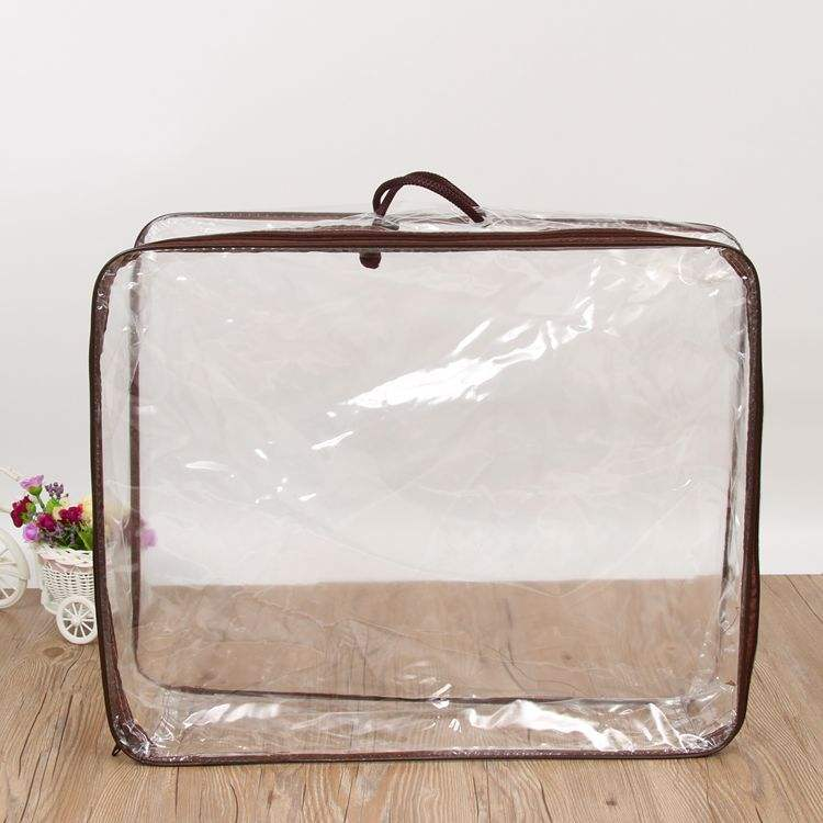 transparent plastic zipper bedding pillow quilt cover carrier bag for packing bed sheet