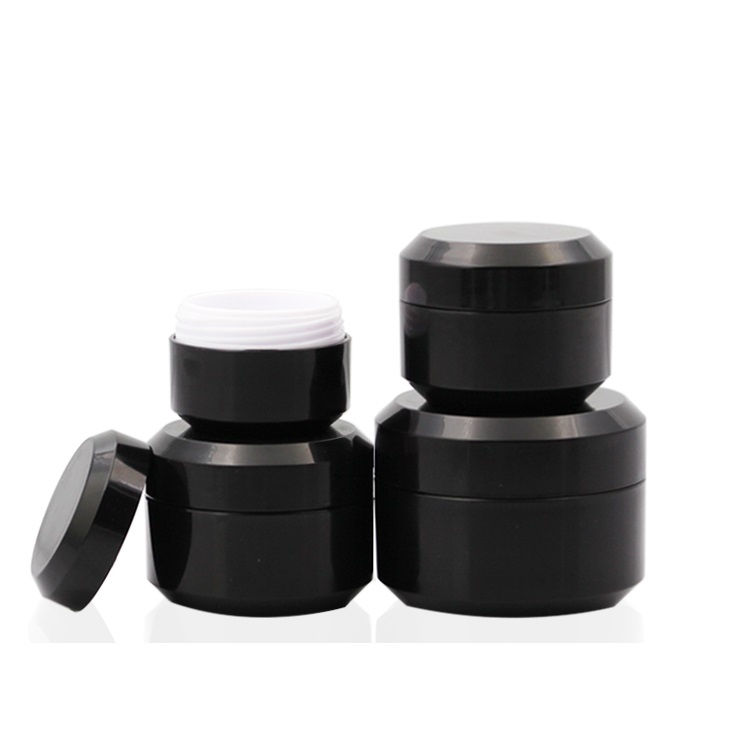 IBELONG Double wall 5g 10g 15g 30g black plastic face cream jar with screw lid