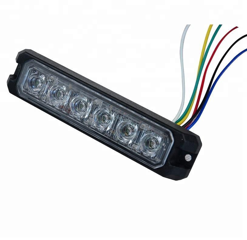 3-LED ECE R10 R65 Ultra Thin 5W Grill // Direction Strobe Light Amber Strobe