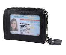 Leather business credit card holder womens