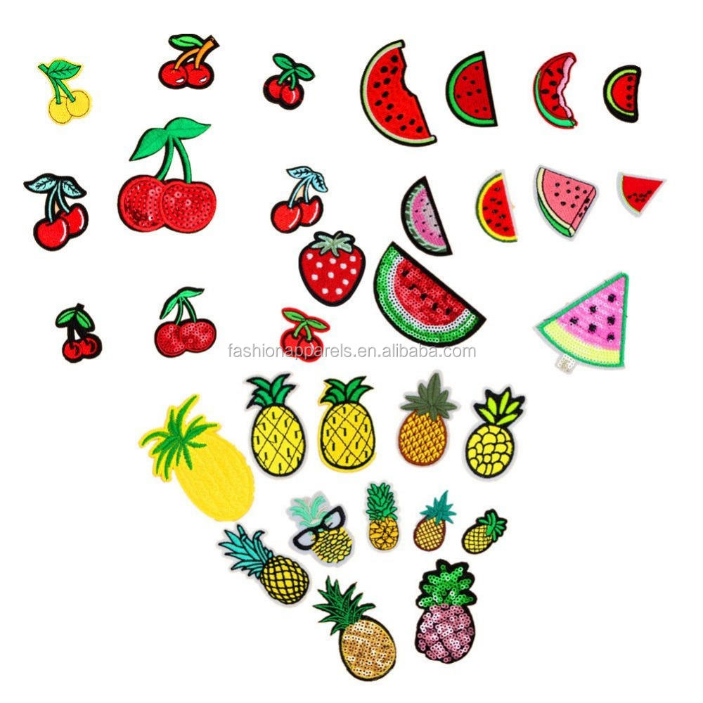 Iron on Patches Fruit Embroidered Appliques Decorative Repair Motif DIY Sew on Patches for Jeans Clothing