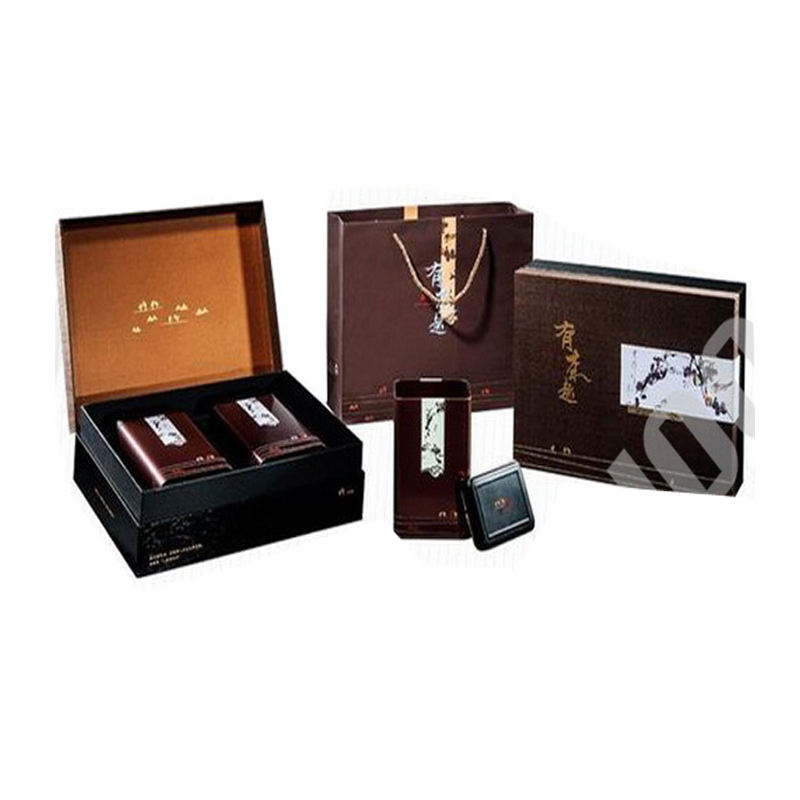 high-end custom paper cardboard tea set gift box with metal caddy