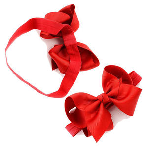 Girls Flower Polyester Bowknot Elastic Baby Bow Headband