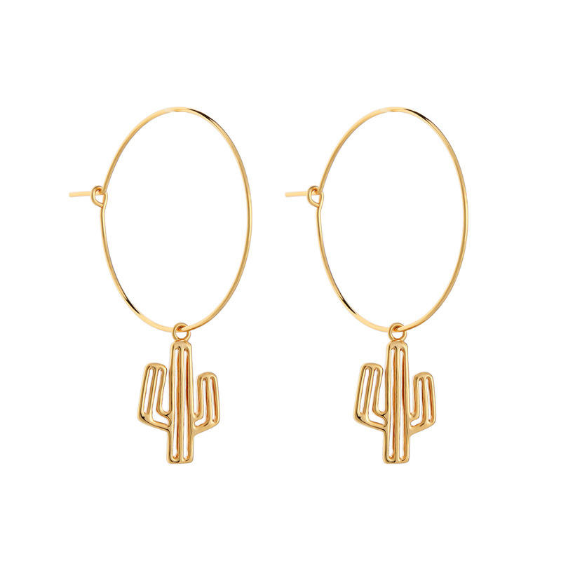 YK Trending Fashion Japan And South Korea Personality Hollow Out Cactus Big Hoop Earrings For Women