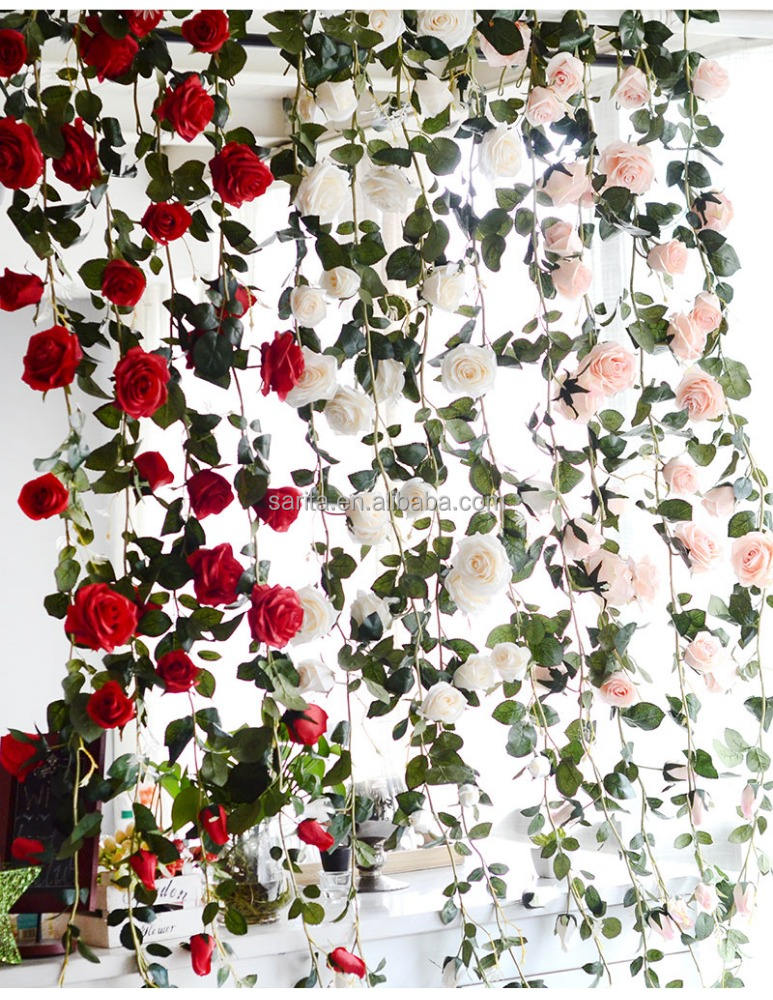 9cm Rose Garland Artificial Rose Vine with Green Leaves Flower Garland For Home Wedding
