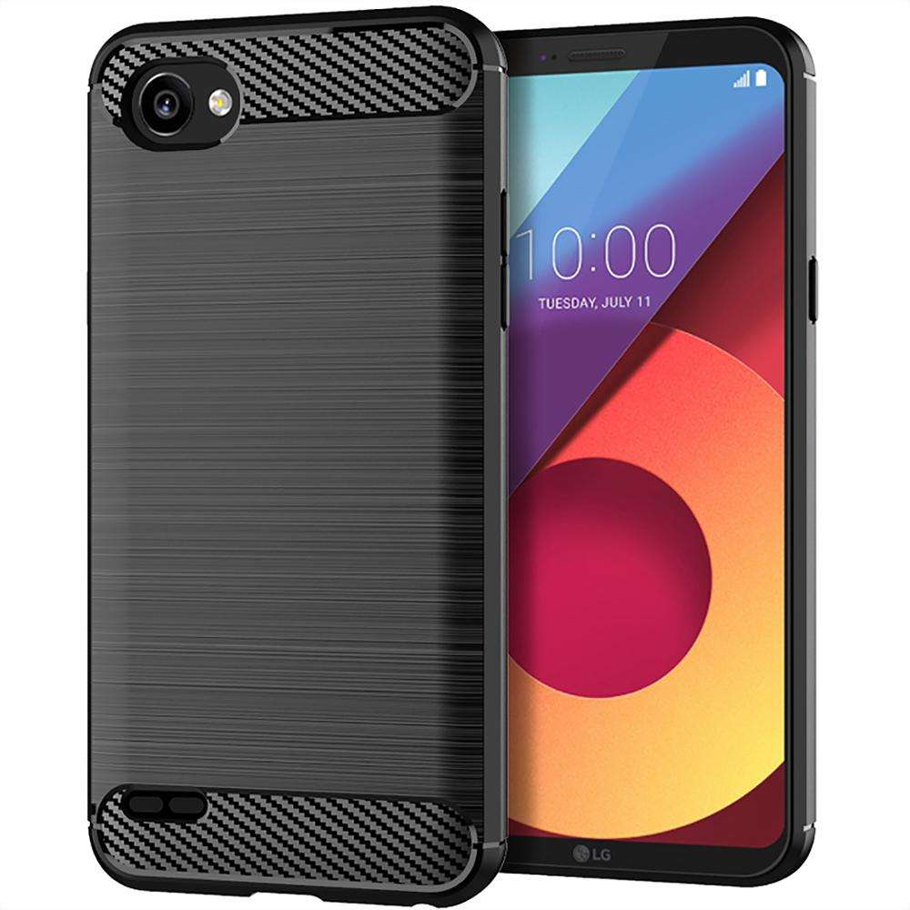 Phone Case Carbon Fiber Soft TPU Silicone Brushed Anti-Skid for LG Q6