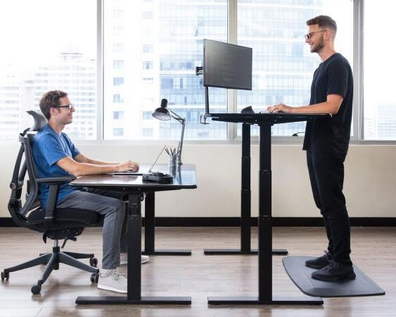 Dual motors three sections 640-1290mm electric height adjustable sit standing up desk