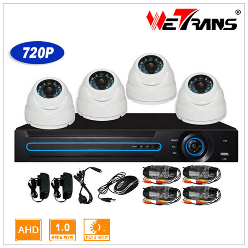 AHD KIT-3404-B HD 720 p 1.0MP HDMI 4CH AHD DVR Kit de seguridad sistema de cámara domo P2P detección de movimiento DVR Kit 4 cámaras
