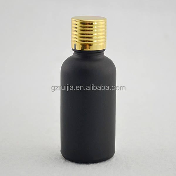 glass vial 30ml frost black essential oil glass gold dropper bottle