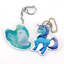 2019 hot sales cheap fashional Vograce pom pom cartoon unicorn printed gold foil acrylic custom key chain