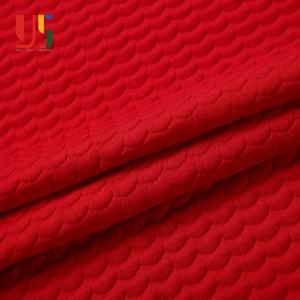 Polyester spandex baby knit red clothing Christmas jacquard fabric for kids dress