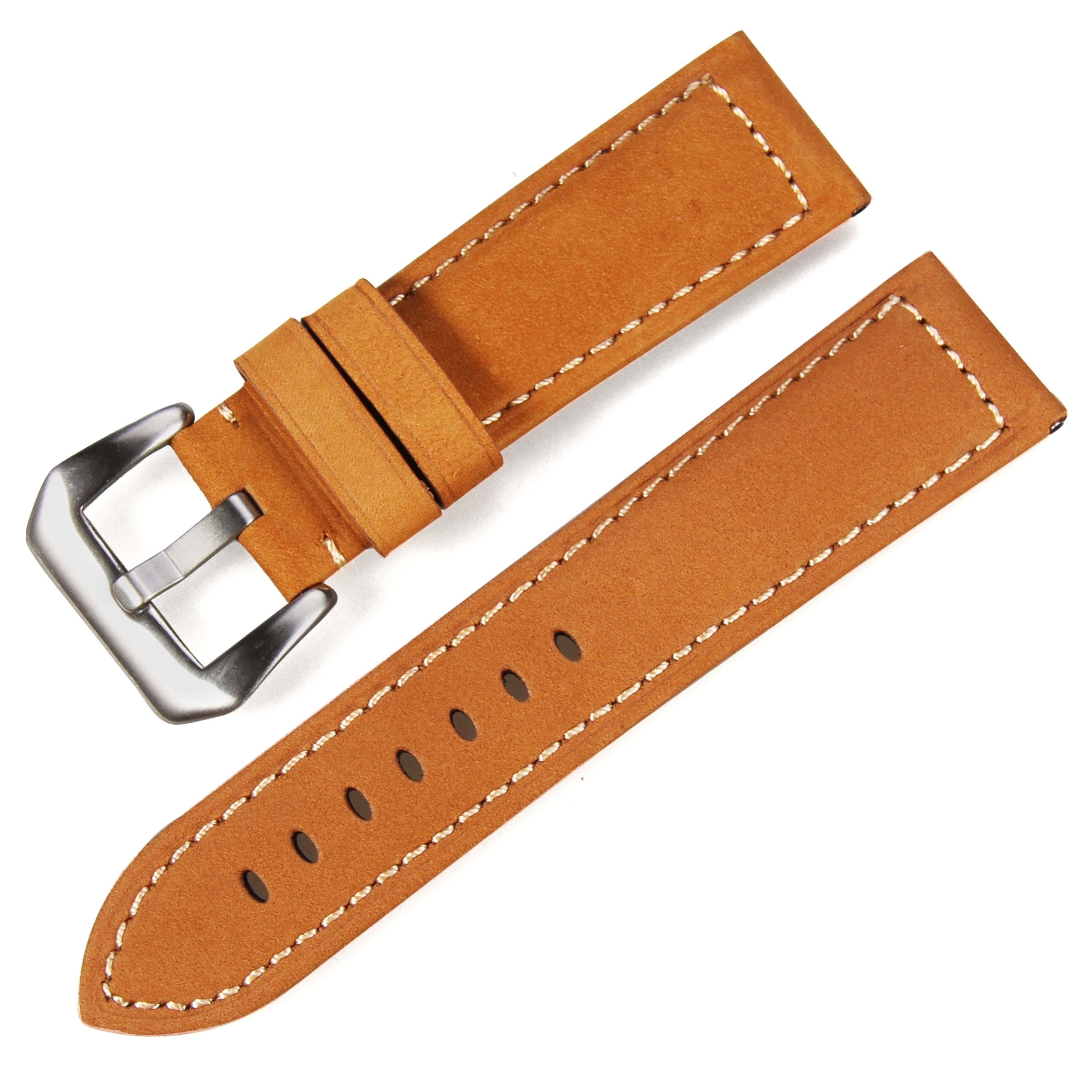 Crazy horse leather Customer design logo Genuine leather brown black vintage watch band 20-26mm