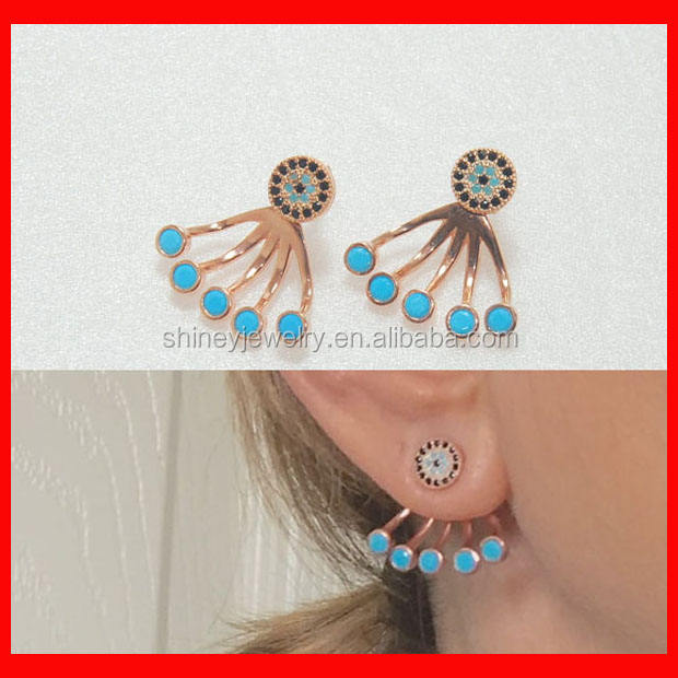 2016 high quality turquoise ear jacket fashion golden earring designs for women