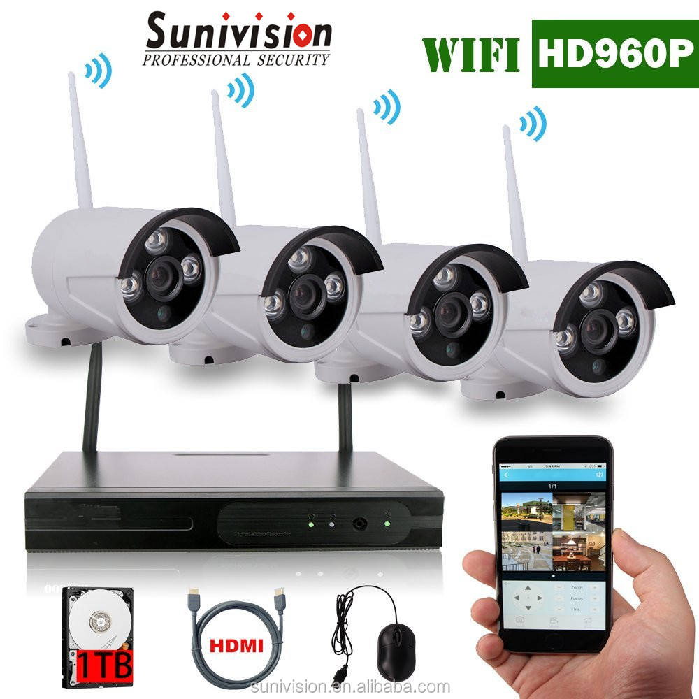 Outdoor Wireless Wifi 960P HD1.3MPIP Camera 4ch NVR Kits CCTV Camera Security system XMEYE