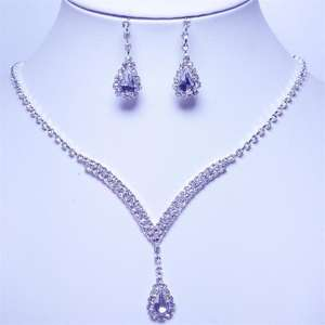 Hot Fashion Earrings Diamond & Necklace Alloy Bridal Wedding Jewelry Set For Women