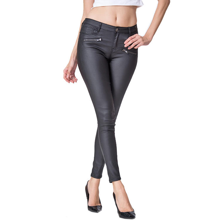 Wholesale Clothing High Waist Biker Black Women Pu Leather Trousers Pants