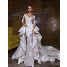 High-Low Beautiful Sweetheart Bride Party Dresses Western Lace Mermaid Wedding Dress With Detachable Train Wedding Gowns