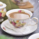 Christmas present ceramic customized tea cup set new bone china floral coffee mug with saucer and spoon