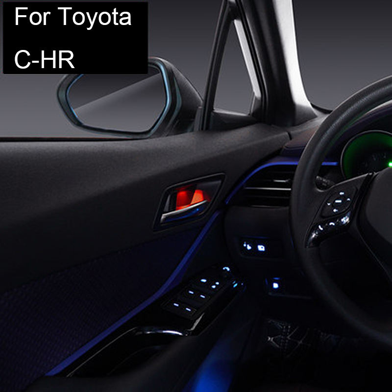 Front Rear Door Handle Bowl Light Red Blue Atmosphere Door Bowl Lamp Light For Toyota C-HR 2017 2018 2019
