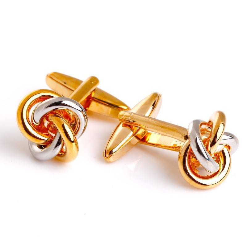 Gold silver two colors metal knot cufflinks